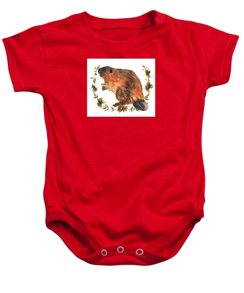 Beaver Painting Baby Onesie by Alison Fennell