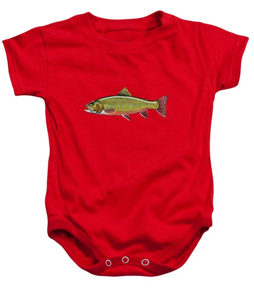 Brook Trout On Red Leather Baby Onesie by Serge Averbukh