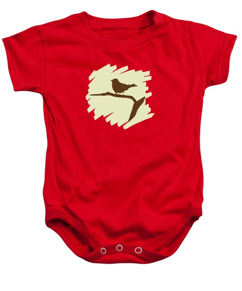 Brown Bird Silhouette Modern Bird Art Baby Onesie by Christina Rollo