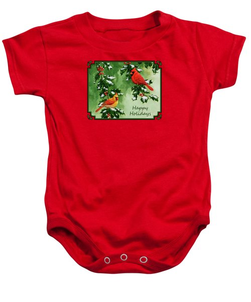 Cardinals Holiday Card - Version With Snow Baby Onesie by Crista Forest