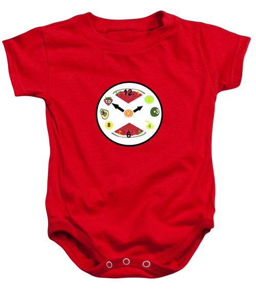 Food Clock Baby Onesie by Kathleen Sartoris