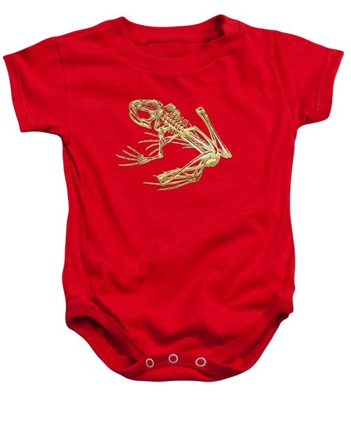 Frog Skeleton In Gold On Red  Baby Onesie by Serge Averbukh