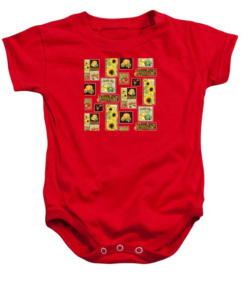 Harvest Market Pumpkins Sunflowers N Red Wagon Baby Onesie by Audrey Jeanne Roberts