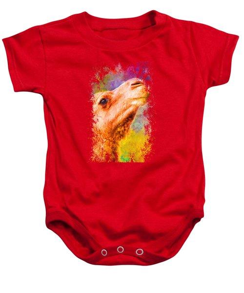 Jazzy Camel Colorful Animal Art By Jai Johnson Baby Onesie by Jai Johnson
