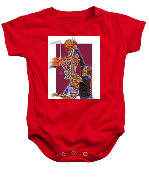 Lebron James Cleveland Cavaliers Oil Art Baby Onesie by Joe Hamilton