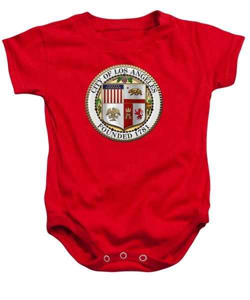 Los Angeles City Seal Over Red Velvet Baby Onesie by Serge Averbukh