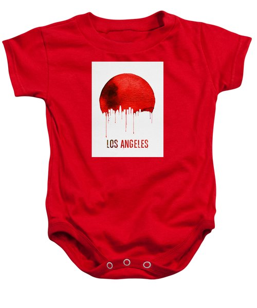 Los Angeles Skyline Red Baby Onesie by Naxart Studio