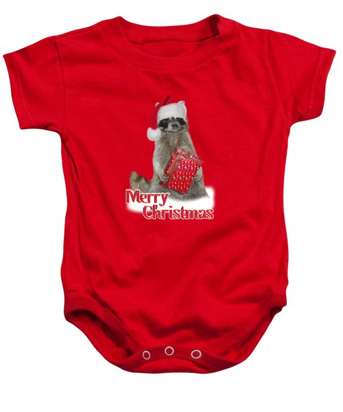 Merry Christmas -  Raccoon Baby Onesie by Gravityx9 Designs