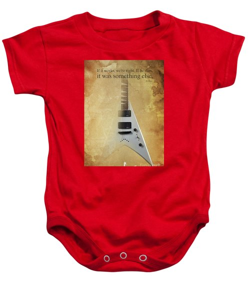 Mr Spock Inspirational Quote And Electric Guitar Brown Vintage Poster For Musicians And Trekkers Baby Onesie by Pablo Franchi