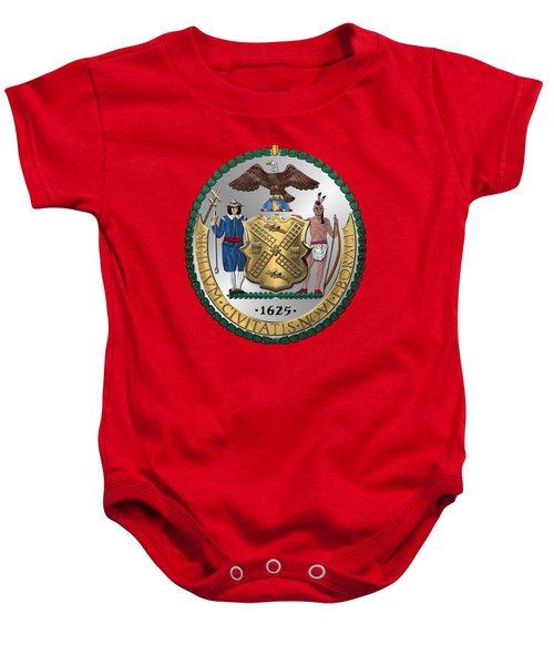 New York City Coat Of Arms - City Of New York Seal Over Red Velvet Baby Onesie by Serge Averbukh