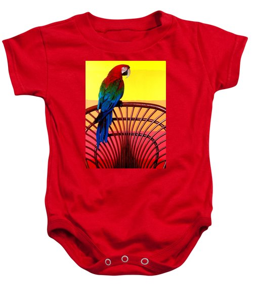 Parrot Sitting On Chair Baby Onesie by Garry Gay