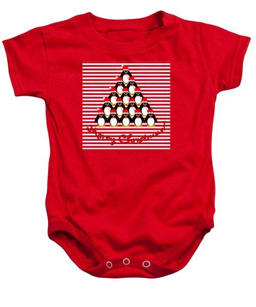 Penguin Christmas Tree N Stripes Baby Onesie by Methune Hively