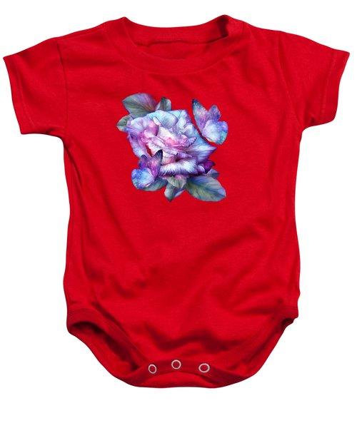 Purple Rose And Butterflies Baby Onesie by Carol Cavalaris