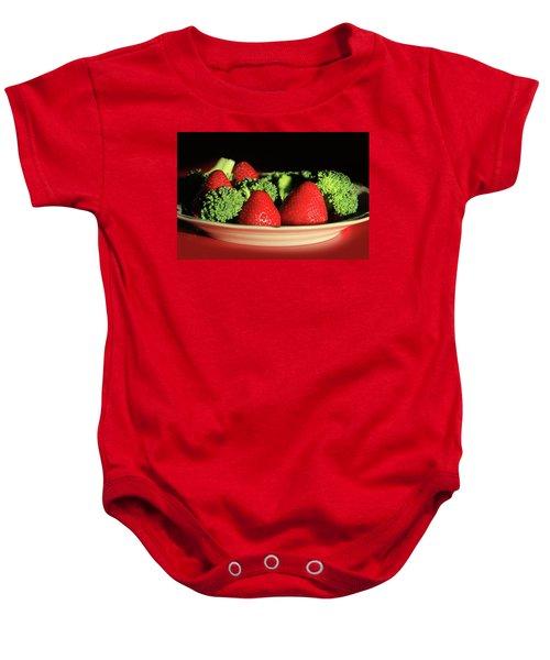 Strawberries And Broccoli Baby Onesie by Lori Deiter