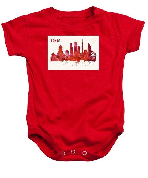 Tokyo Skyline Watercolor Poster - Cityscape Painting Artwork Baby Onesie by Beautify My Walls