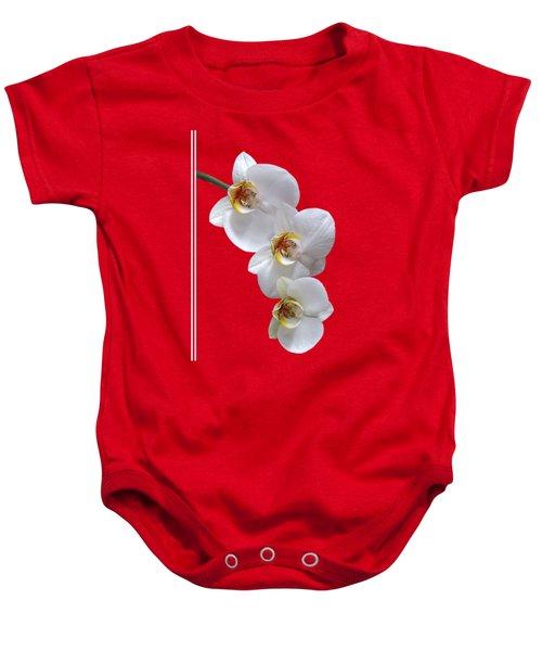 White Orchids On Terracotta Vdertical Baby Onesie by Gill Billington