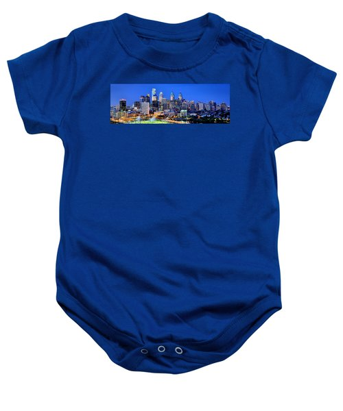Philadelphia Skyline At Night Evening Panorama Baby Onesie by Jon Holiday