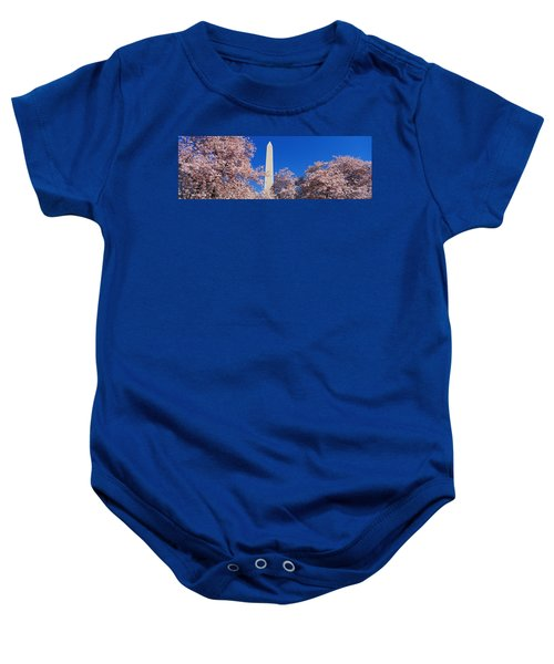 Cherry Blossoms Washington Monument Baby Onesie by Panoramic Images