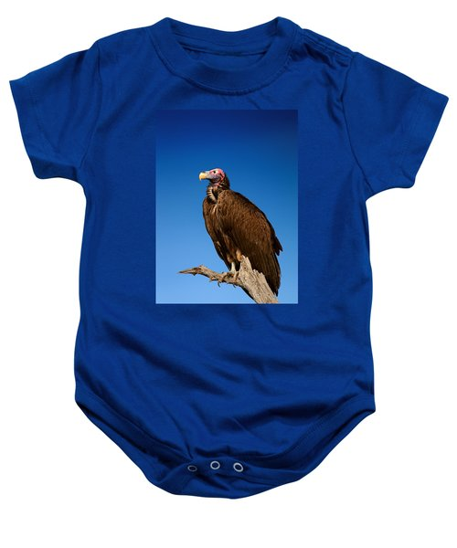 Lappetfaced Vulture Against Blue Sky Baby Onesie by Johan Swanepoel