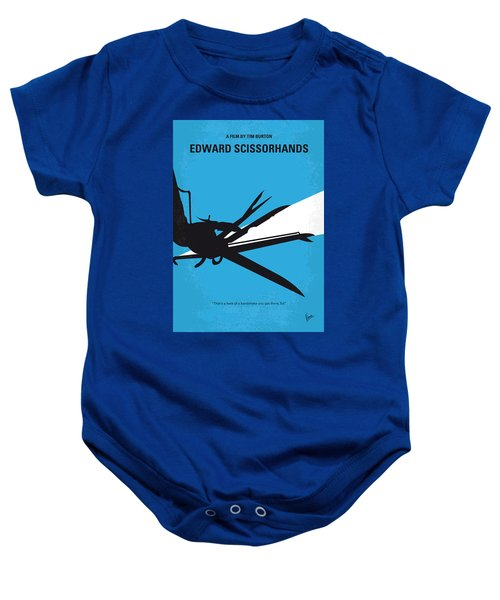 No260 My Scissorhands Minimal Movie Poster Baby Onesie by Chungkong Art
