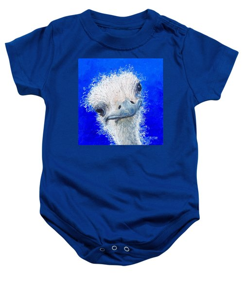 Ostrich Painting 'waldo' By Jan Matson Baby Onesie by Jan Matson