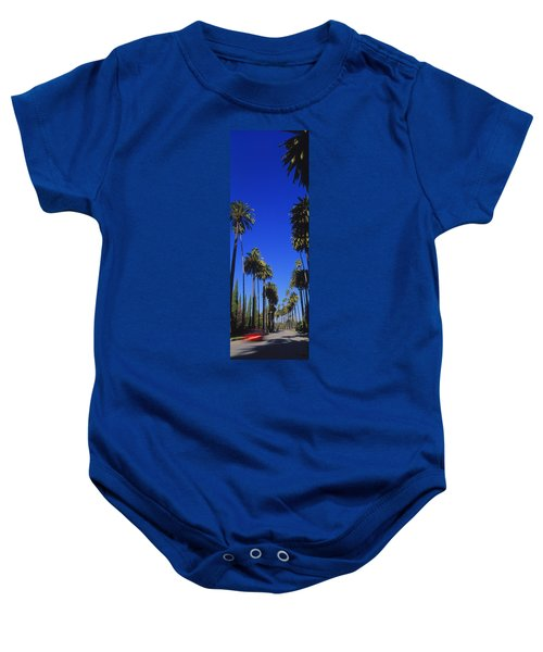 Palm Trees Along A Road, Beverly Hills Baby Onesie by Panoramic Images