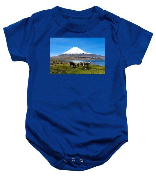 Parinacota Volcano Lake Chungara Chile Baby Onesie by Kurt Van Wagner