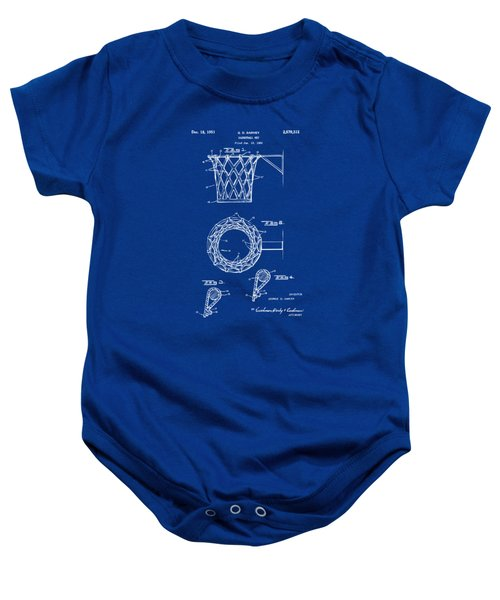 1951 Basketball Net Patent Artwork - Blueprint Baby Onesie by Nikki Marie Smith