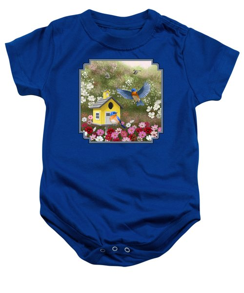 Bluebirds And Yellow Birdhouse Baby Onesie by Crista Forest