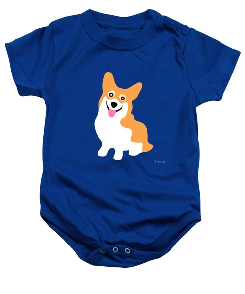 Smiling Corgi Pup Baby Onesie by Antique Images