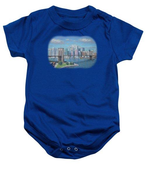 New York Brooklyn Bridge Baby Onesie by Renato Maltasic