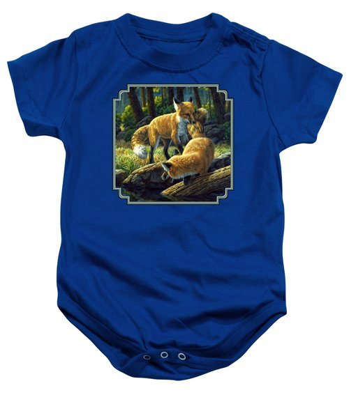 Red Foxes - Sibling Rivalry Baby Onesie by Crista Forest