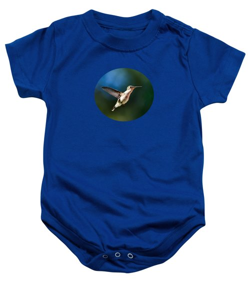 Ruby-throated Hummingbird And Pink Verbena Baby Onesie by Christina Rollo