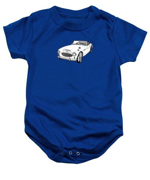 Austin Healey 300 Sports Car Drawing Baby Onesie by Keith Webber Jr