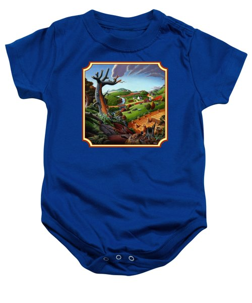 Autumn Wheat Harvest Country Farm Life Landscape - Square Format Baby Onesie by Walt Curlee