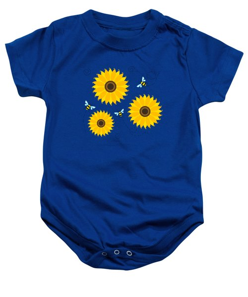 Busy Bees And Sunflowers - Large Baby Onesie by Shara Lee