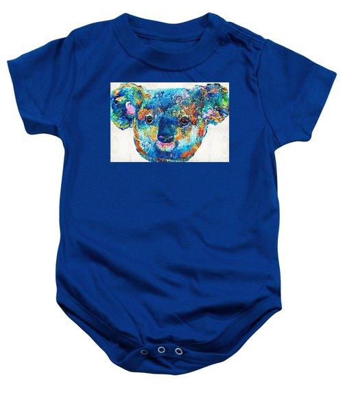 Colorful Koala Bear Art By Sharon Cummings Baby Onesie by Sharon Cummings