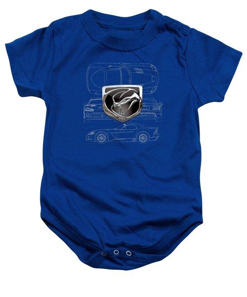Dodge Viper  3 D  Badge Over Dodge Viper S R T 10 Blueprint  Baby Onesie by Serge Averbukh