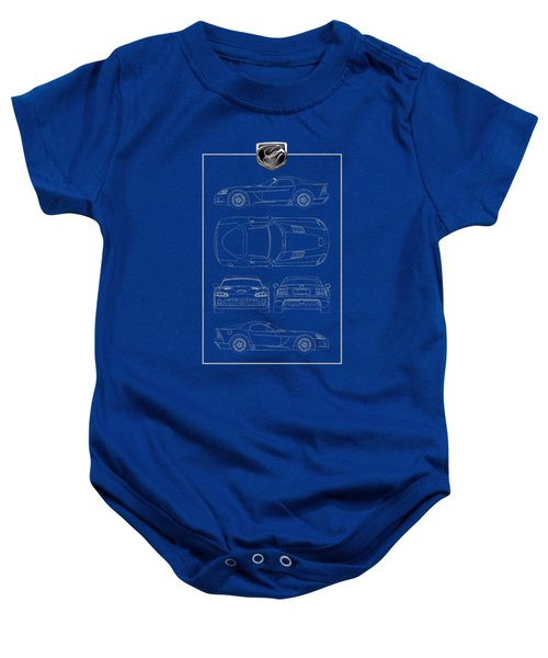 Dodge Viper  S R T 10  Blueprint With Dodge Viper  3 D  Badge Over Baby Onesie by Serge Averbukh