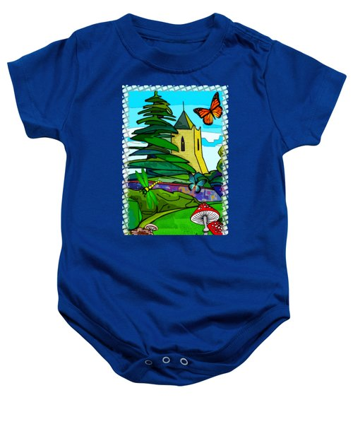 English Garden Whimsical Folk Art Baby Onesie by Sharon and Renee Lozen