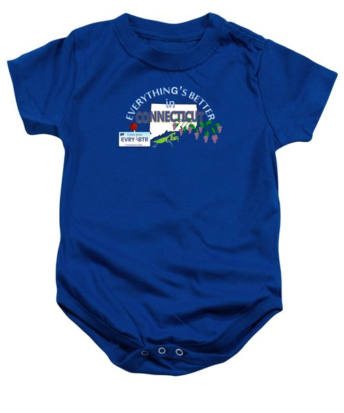 Everything's Better In Connecticut Baby Onesie by Pharris Art