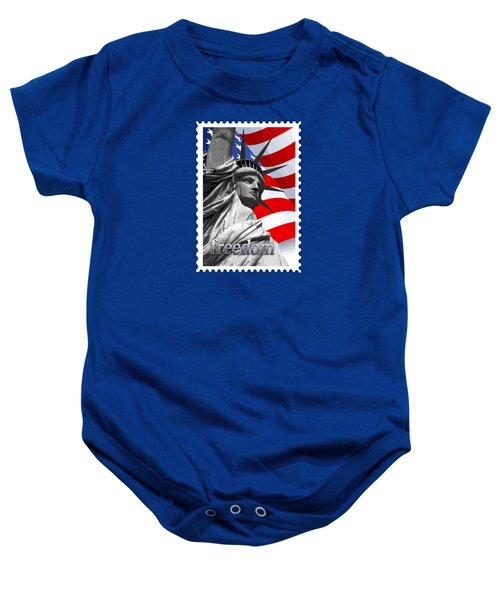 Graphic Statue Of Liberty With American Flag Text Freedom Baby Onesie by Elaine Plesser