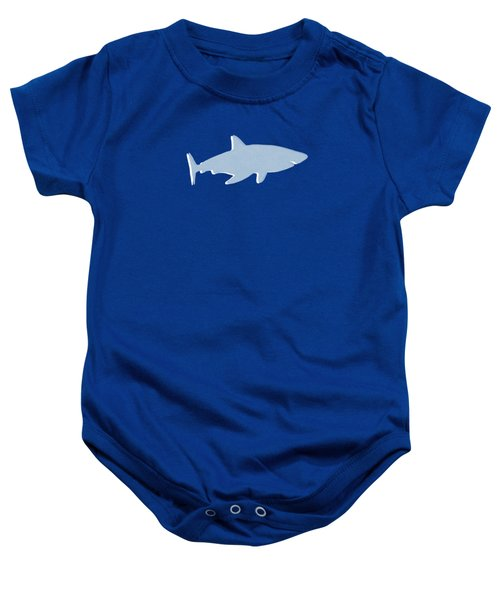 Grey And Yellow Shark Baby Onesie by Linda Woods