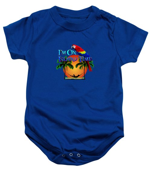 Island Time And Parrot Baby Onesie by Chris MacDonald