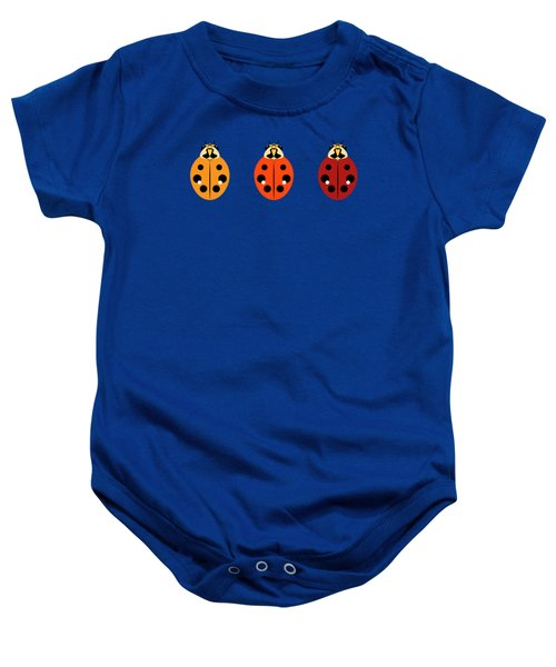 Ladybug Trio Horizontal Baby Onesie by MM Anderson