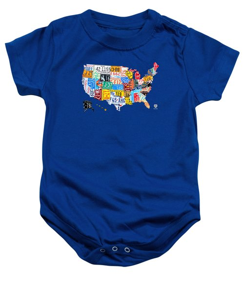 License Plate Map Of The Usa On Royal Blue Baby Onesie by Design Turnpike