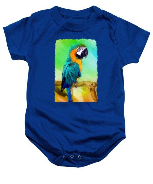 Maya - Macaw Parrot  Baby Onesie by Linda Koelbel