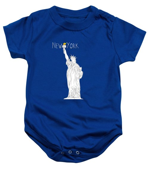 Ny Statue Of Liberty Line Art Baby Onesie by Bekare Creative