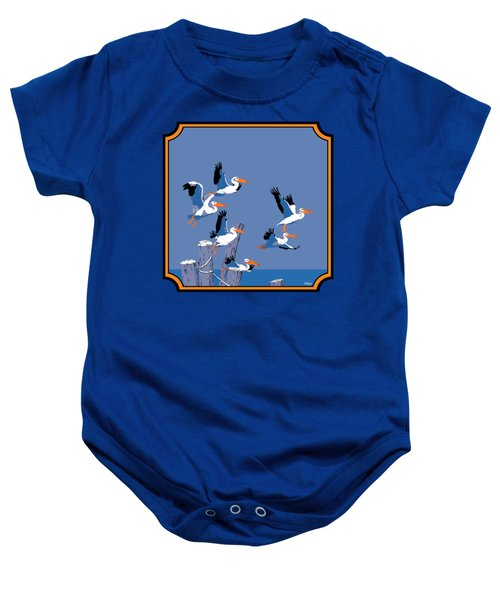Pelicans In Flight Tropical Seascape - Abstract - Square Format Baby Onesie by Walt Curlee
