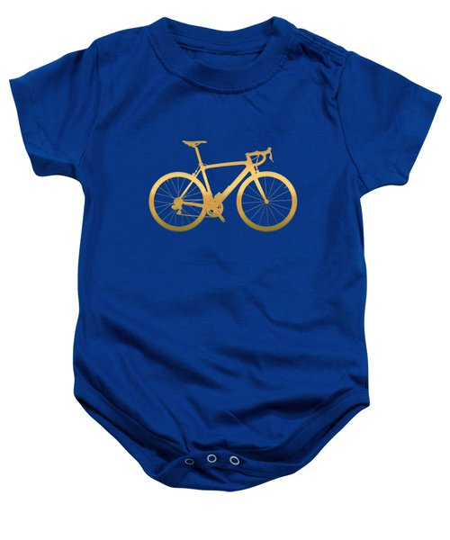Road Bike Silhouette - Gold On Beige Canvas Baby Onesie by Serge Averbukh